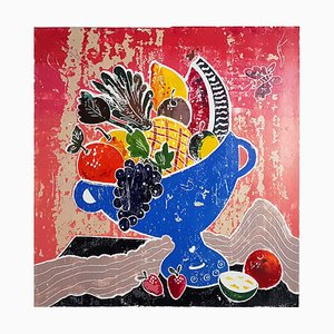Mediterranean Abundance, Mixed Media Painting on Paper, Contemporary Still Life, 2020