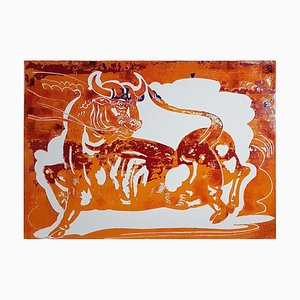 Sunset in Motion, Mixed Media Painting on Paper, Contemporary Bright Colour Bull, 2020