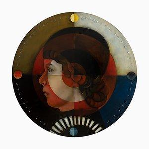 Escudo estoico, óleo sobre lienzo, caprichoso retrato de maestro de arte pop, redondo, 2020