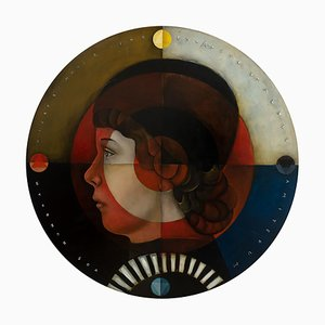 The Stoic's Shield, Oil on Canvas, Whimsical Pop Art Portrait Master, Round, 2020
