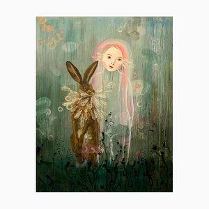 Anne Siems, Rabbit Magic, Surreale Figurative Malerei, Mädchen mit Rosa Haaren, 2017