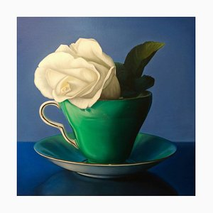 Eleanor, Realist Style Oil Painting with Rose and Teacup, Green Background, 2018