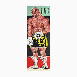 Kleomedes, Life Size Boxer Painting, Oil on Paper, 2015
