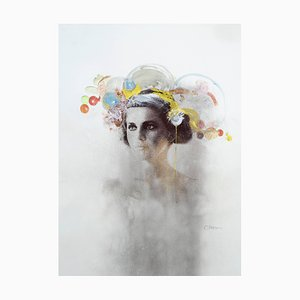 Ophelia #4, Hand-Painted Mixed Media Portrait Photography on Paper, Framed, 2012