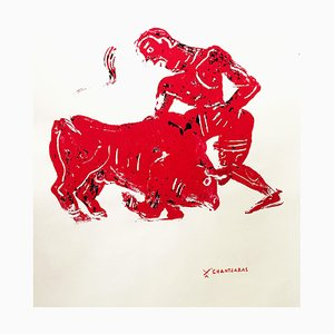 Myth and Games II, Red Monoprint of Ancient Greek Figure and Bull, 2016