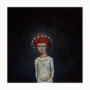 Età: 7 anni, olio su tela, pittura pop surrealista con capelli rossi, 2015