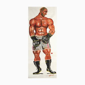 Theogen, Lifesize Boxer Gemälde, Öl auf Papier, 2015