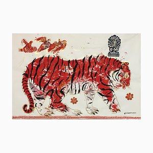 Tiger in Sunset, Ancient Inspired, pintura sobre papel con acrílico y pan de oro, 2015