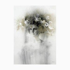 Ophelia # 5, fotografía de retrato de melena mixto pintada a mano sobre papel, 2012