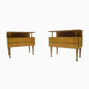 Mid-Century Modern Brass and Wood Nightstands, 1950s, Set of 2