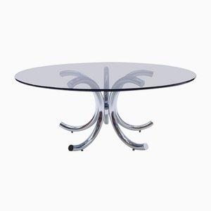 Round Chrome & Smoked Glass Coffee Table, 1970s
