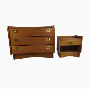 Vintage Chest of Drawers and Bedside Table from Gautier, Set of 2