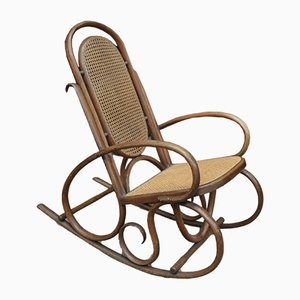 Rocking Chair in Bentwood and Wickerwork from Thonet, 1920s