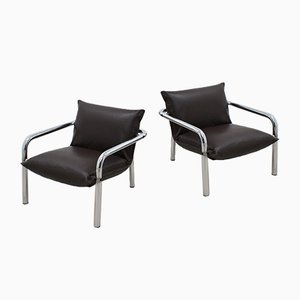 Chrome and Leather Armchairs by Willy Rizzo for Cidue, 1970s, Set of 2