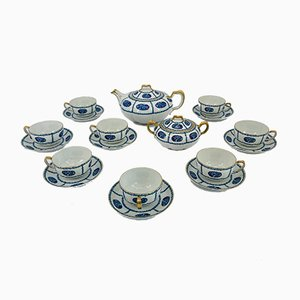 Art Deco Tea Set for 8 People from Franck Haviland Limoges, France, 1925, Set of 10