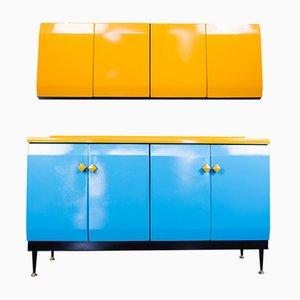 Vintage Kitchen Cabinet Set in Metal, 1950s, Set of 2