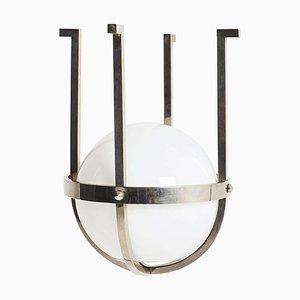 Lampada da soffitto modernista in vetro e placcata in cromo