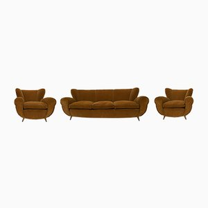 Art Deco Sofa & Armchairs by Guglielmo Ulrich, Italy, 1940s, Set of 3