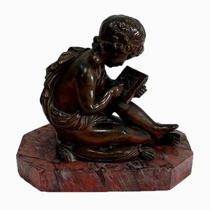 Bronze Sculpture of Child Drawing by Lemire, 19th Century
