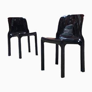 Modern Italian Black Plastic Selene Chairs by V. Magistretti for Artemide, 1960s, Set of 2