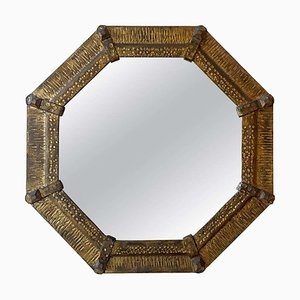 Miroir Octogonal Mid-Century en Fer Doré