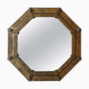 Specchio ottagonale Mid-Century in ferro dorato