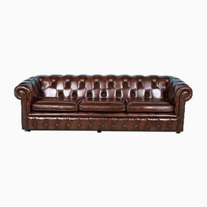 Vintage Cognac Leather Chesterfield Sofa with 4 Seats from Springvale, 1980s