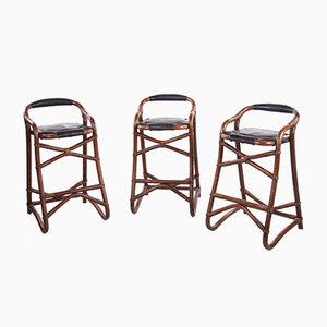 Danish Bar Stools in Bamboo from Horsnaes, 1970s, Set of 3