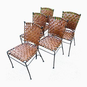 Metall & Leder Esszimmerstühle, Italien, 1970er, 5er Set