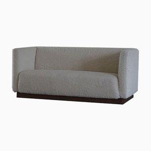 Danish Art Deco Freestanding 3-Seater Sofa Reupholstered in Sheepskin, 1930s