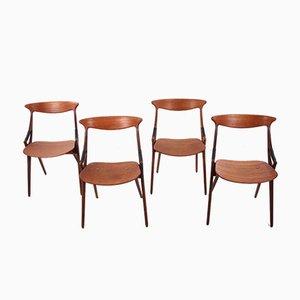 Modell 17 Teak Stühle von Arne Hovmand Olsen für Mogens Kold, 1950er, 4er Set