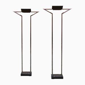 Italienische Mid-Century Modern Chrom Stehlampen mit Marquina Marmor, 1980er, 2er Set