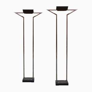Mid-Century Modern Italian Chrome Floor Lamps with Marquina Marble, 1980s, Set of 2