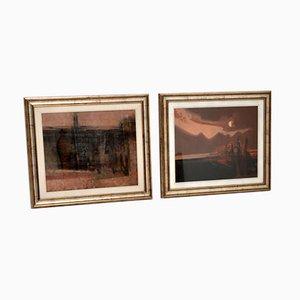 Giussani, Italian Abstract Framed Oil Paintings, 1980s, Set of 2