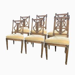 Chaises de Salon Louis XVI à Dossier Lyre, 18ème Siècle, France, Set de 6