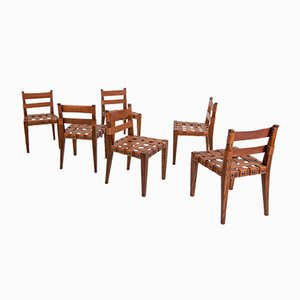 Chairs in Wood and Leather by Osvaldo Borsani