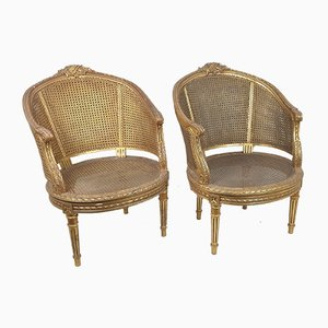 Giltwood & Cane Armchairs, 20th Century, Set of 2