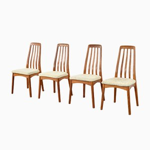 Chaises de Salon Mid-Century Scandinaves en Teck et Laine, 1960s, Set de 4