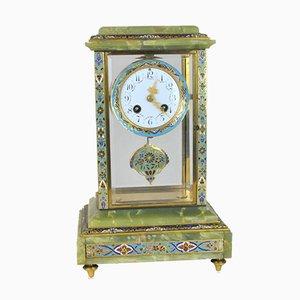 Emaillierte Bronze und Onyx Uhr, spätes 19. Jahrhundert