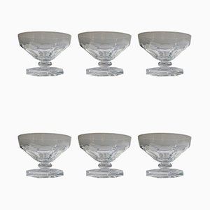 Crystal Champagne Glasses from Val Saint Lambert, Early 20th Century, Set of 6