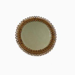 Round Mirror in Rattan, 1960s