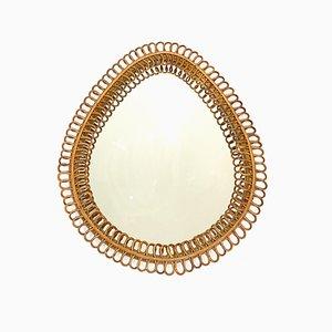 Nailhead Mirror in Rattan, 1960s