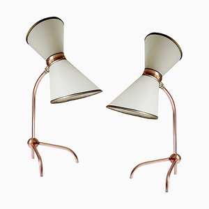 Mid-Century French Tripod Table Lamps in the Style of Guariche, 1950s, Set of 2
