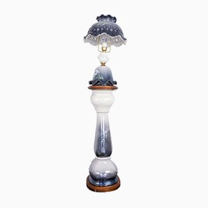 Lampe de Bureau à Colonne Vintage en Céramique à Motifs, 1930s