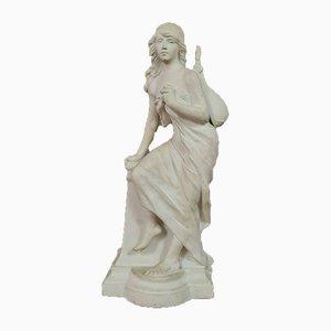 Grande Statue Art Nouveau en Porcelaine Biscuit, 1900s