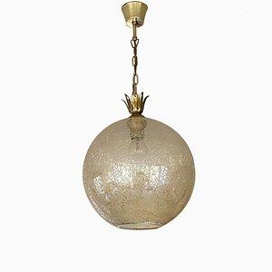 Lampada a sospensione vintage sferica in vetro, anni '60