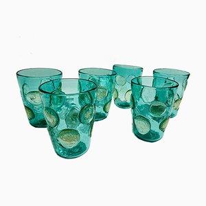 Vasos italianos vintage de cristal de Murano esmeralda de Ribes Studio. Juego de 6