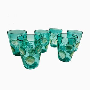 Vintage Italian Drinking Glasses in Emerald Murano Glass by Ribes Studio, Set of 6