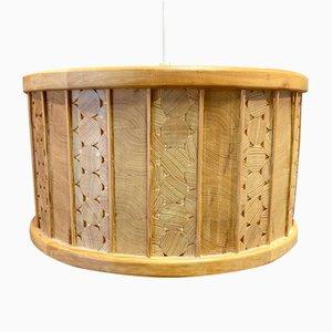 Large Scandinavian Solid Wood Ceiling Lamp, 1950s