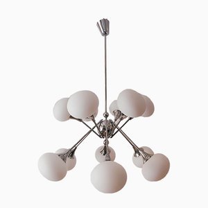 12-Leuchten Sputnik Kronleuchter aus Chrom
